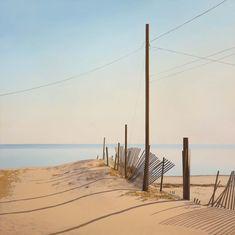 Jim Holland - Present), American Artist - Broken Fences - 36 x 36 Jack Vettriano, Edward Hopper, Watercolor Landscape, Landscape Paintings, Art Folder, Beach Art, Winter Scenes, Artist Art, American Artists