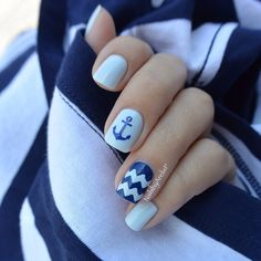 ⚓️ Nautical Nails ⚓️ Many women prefer to visit the hairdresser even when they cannot have time to utilize shine … Nautical Nail Designs, Beach Nail Designs, Nautical Nails, Blue Gel Nails, Navy Blue Nails, White Nails, Aztec Nails, Chevron Nails, Anchor Nails