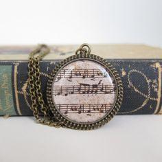 Music Necklace, Sheet Music Necklace, Sheet Music Jewelry,