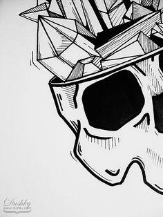 the crystal skull - sticker design by dushky | #skull #anatomy #crystals #minerals #rocks #illustration #dushky