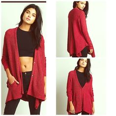 FREE PEOPLE Wrap Coat NWT NWT AND CRAZY COZY  Color is Red Berry  Free People Sweaters Cardigans