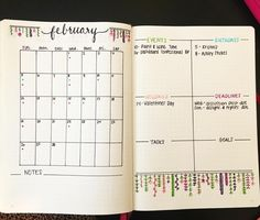 Trying out a new monthly spread that I found on Pinterest for the month of February. We'll see if I like it by the end  I wish I could find who the creator was to give credit but I had no such luck. #bujo #bulletjournal #bujocommunity