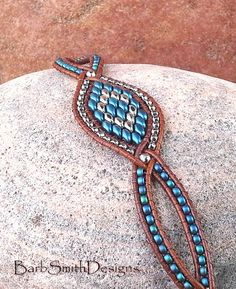 Blue Silver Leather Beaded Bracelet The by BarbSmithDesigns
