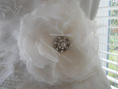 Bridal White Wedding Dress Sash Flower with Feathers by PucoBesh, $69.00