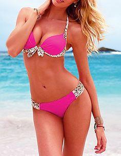 Push Up Nylon and Spandex Pure Color Brazilian Sexy Bikini