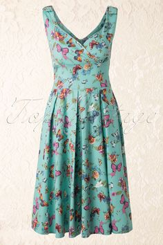Whispering Ivy - TopVintage exclusive ~ 60s Butterfly Dress in Blue