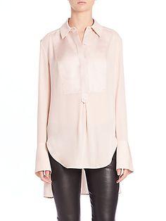VINCE Silk & Satin Tuxedo Shirt. #vince #cloth #shirt
