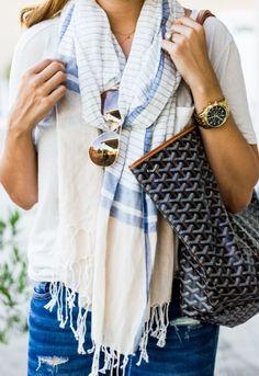 plain white tee, distressed denim, scarf