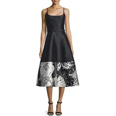 Theia Sleeveless A-line Floral-Hem Cocktail Dress ($420) ❤ liked on Polyvore featuring dresses, high low cocktail dress, spaghetti strap dress, floral hi-low dresses, hi lo dresses and sleeveless floral dress