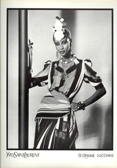 1980 - Yves Saint Laurent Couture adv - Iman by David Bailey                                                                                                                                                                                 More