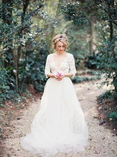 Wholesale 2014 Fall Wedding Dress - Buy 2014 Fall Autumn Vintage Sheer Neck V-Neck French Lace Ivory Tulle 3/4 Long Sleeve A-Line Wedding Dresses Chapel Train Tiers 2015 Spring, $217.69 | DHgate.com