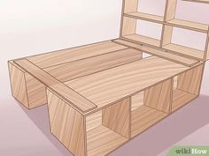 How to Build a Wooden Bed Frame. Do you have a rickety metal bed frame? Or maybe you keep your mattress on the floor with no frame at all. Have you considered getting a wooden bed frame? It can add wonderful appeal to your room, and it. Furniture Projects, Home Projects, Diy Furniture, Milk Crate Furniture, System Furniture, Furniture Refinishing, Furniture Plans, Bedroom Furniture, Modern Furniture