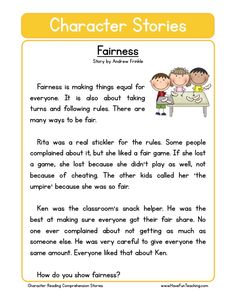 This Reading Comprehension Worksheet - Fairness is for teaching reading comprehension. Use this reading comprehension story to teach reading comprehension.