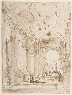 Francesco Guardi | The Arcade of the Libreria, Looking Toward San Giorgio Maggiore | The Met