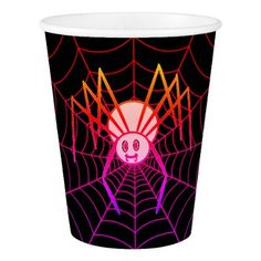 #Pretty Pink Spider Halloween Paper Cup - #drinkware #cool #special