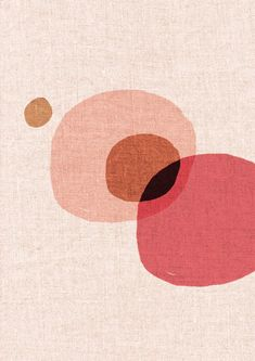 Modern contemporary circles artwork, with pink, peach and burnt orange linen overlays. Created with ink pen and digitally coloured (220 gsm / acid ...