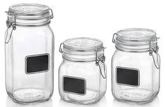 Bormioli Rocco Fido Chalk Glass Storage Jar Set - The Home Depot Chalk Labels, Chalkboard Labels, Jar Labels, Glass Canisters, Kitchen Canisters, Glass Jars, Glass Storage Containers, Jar Storage, Small Bathroom Storage