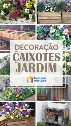 Decoração para jardim com caixotes Outdoor Structures, Rose, Gardening, Design, Small Space Gardening, Hydroponic Gardening, Outdoor Garden Decor, Plant Box, Flowers