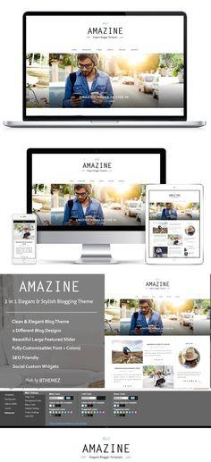 Responsive Blogger Template- Amazine. $25.00