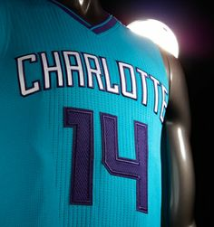"""WORDMARK · White """"Charlotte"""" wordmark with purple background · Represents the city and pays homage to the original teal uniform  FONTS · Let..."""