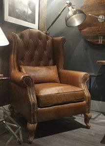 Vintage High Button Leather Wingback - furniture
