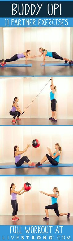 gym workout weight loss nutrition health and fitness Buddy Up With These 11 Exercises You Can Do With a Partner! Full Body Workouts, Buddy Workouts, Lower Ab Workouts, Easy Workouts, Group Workouts, Exercise Workouts, Swimming Workouts, Fitness Hacks, Fitness Motivation