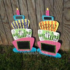 Original Chalkboard BIRTHDAY CAKE, Birthday Parties, Classroom Birthdays - Wooden Door Hanger, Door Signs, Door Decoration