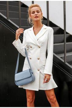 Her Fashion Simply Elegant Ruffle Double Breasted Women Blazer Dress White Dress Winter, Sexy White Dress, Blazers For Women, Jackets For Women, Ladies Jackets, Women Blazer, Summer Wear For Women, White Tux, Long Sleeve Chiffon Dress