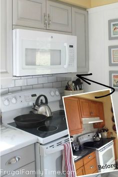 How do you make an OTR microvave fit? What do you do about the over the range cabinet? Here& how to cut a cabinet for Over the Range Microwave. Part of our series: kitchen update for way less cash. Update your old kitchen on a budget. Kitchen On A Budget, Diy Kitchen, Kitchen Decor, Kitchen Cabinets, Kitchen Ideas, Kitchen Vinyl, Kitchen Stuff, Kitchen Inspiration, Kitchen Designs
