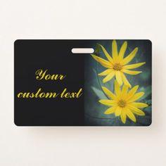 Two yellow flowers of Jerusalem artichoke Badge - photo gifts cyo photos personalize