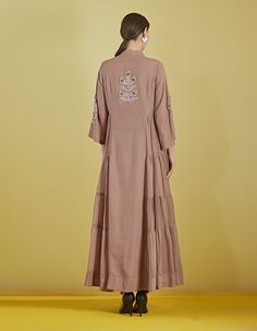 Buy Taupe Embellished Kota Tiered Dress by BRIJ Available at Ogaan Online Shop Embroidery Suits, Hand Embroidery, Ethnic Fashion, Indian Fashion, Kurti Styles, Embellished Shorts, One Piece Dress, Tiered Dress, Taupe