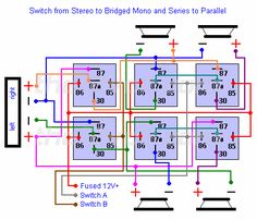 Switching from Stereo to Bridged Mono and Series to Parallel via Relays