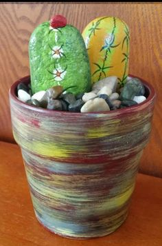 Hand painted Rock Art - Whimsical CACTUS Rocks with Hand painted 5 inch Terracotta Pot (FREE SHIPPING)