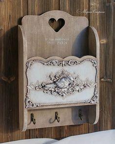 Shabby Chic Home Decor Handmade Decorations, Handmade Crafts, Iron Orchid Designs, Decoupage Box, Paperclay, Diy Supplies, Mason Jar Crafts, Shabby Chic Crafts, Home Decor Items