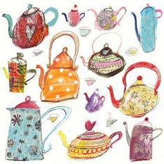 DRAWn to MINERVA: Laura Hughes Cheerful teapots! Tea is always a good thing.