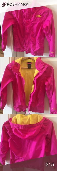 Northface HyVent jacket Pink and yellow Northface HyVent 100% polyester hooded jacket. zip and Velcro front closure. Good condition The North Face Jackets & Coats Raincoats