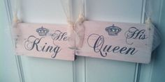 Crystal Wedding Plaques   FAIRYTALE Wedding Signs CRYSTALS & CROWN His Queen and Her King in ...