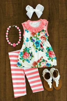 The Camdyn Floral Capri Set - - 8 years Little Girl Outfits, Kids Outfits Girls, Cute Outfits For Kids, Little Girl Fashion, Toddler Girl Outfits, Toddler Fashion, Kids Fashion, Womens Fashion, Outfits Niños