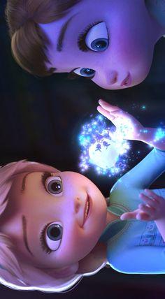 Frozen - Princess Anna young and queen Elsa young Disney Pixar, Heros Disney, Walt Disney Animation, Disney And Dreamworks, Disney Cartoons, Disney Art, Princesa Disney Frozen, Disney Princess Frozen, Elsa Frozen