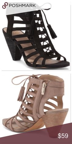 1a9faedcb57f Lace Up Gilly Cone Suede Heels These stylish suede heels feature cut out  detail