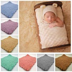 Hand Knit Tiny Blankets Newborn Photo Prop Mini Blanket Baby Mat Photography Prop