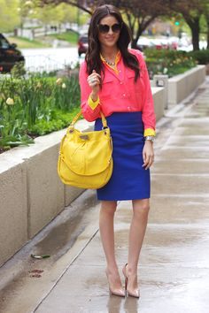 5.12 house of fifty (J Crew shirts in bright sun and neon rose + J Crew skirt + Louboutin pumps + Marc Jacobs bag + J Crew necklace + Michael Kors watch)