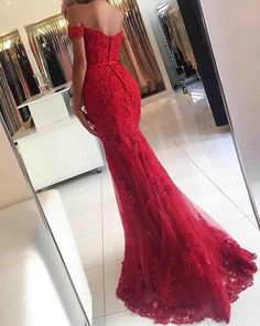 Elegant Off the Shoulder Prom Dress,Lace Red Prom Dress with Beading,Mermaid Prom Dresses,Sexy Prom Gowns,Long Prom Gown