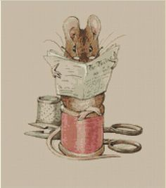 The Tailor Mouse Cross Stitch Pattern, Beatrix Potter, The Tailor of Gloucester, Instant PDF Digital Download Counted Cross Stitch Chart