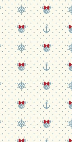 Nautical Minnie Mouse Themed Pattern By Yorkshire Bear Graphic Design And Illustration