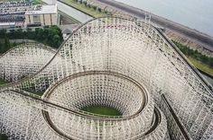 White Cyclone, a wooden roller coaster at Nagashima Spa Land in Mie Prefecture, Japan