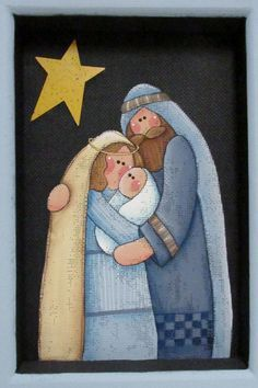 María José y bebé nacimiento del arte popular marco de Christmas Rock, Christmas Nativity, Christmas Projects, Vintage Christmas, Christmas Ornaments, Nativity Painting, Outdoor Nativity, Happy Birthday Jesus, Nativity Crafts