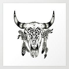 skull+horns+Art+Print+by+Hunterofwoods+-+$17.00