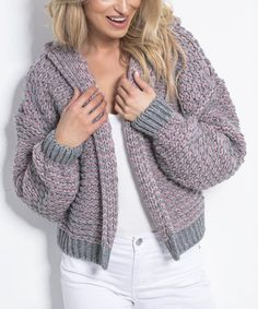 Fobya Pink Powder & Gray Stripe Hooded Open Cardigan - Women | Best Price and Reviews | Zulily Open Cardigan, Sweater Cardigan, Winter Wardrobe, Cardigans For Women, Grey Stripes, Cold Weather, Amazing Women, Hoods, Powder
