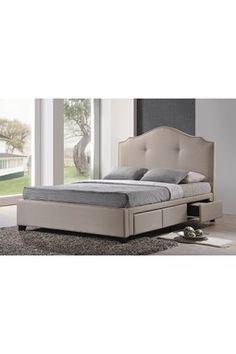 HauteLook | Fabulous Tufted Furniture: Armeena Beige Upholstered Linen Modern Storage Bed - Queen Size